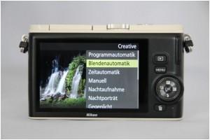 """Bei der Nikon 1 finden Sie das Programm im Kreativmodus unter """"Blendenautomatik"""""""