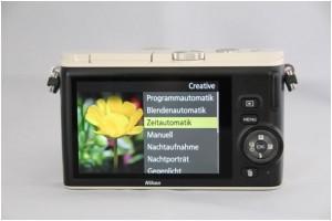 """Bei der Nikon 1 nennt sich der Modus Blendenpriorität """"Zeitautomatik"""""""
