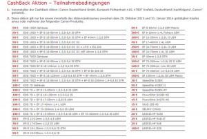 Hier finden Sie die vollständig Canon Cashback - Liste Quelle: Canon